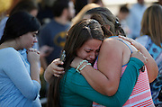 Oct 1, 2015 - Roseburg, Oregon, U.S. - <br /> <br />  JESSICA VAZQUEZ, left, hugs her aunt, LETICIA ACARAZ, as they await word on Acaraz's daughter. As many as 13 people were killed and 20 injured when a shooter opened fire at Oregon's Umpqua Community College on Thursday. <br /> ©Exclusivepix Media