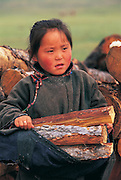 Darkhad girl fetching firewood<br /> Darkhad Depression<br /> Northern Mongolia