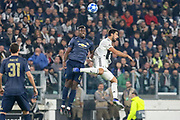 Manchester United Midfielder Paul Pogba battles for a header with Juventus Midfielder Sami Khedira during the Champions League Group H match between Juventus FC and Manchester United at the Allianz Stadium, Turin, Italy on 7 November 2018.