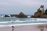 Surfing at the Plage de la Co?te des Basques.