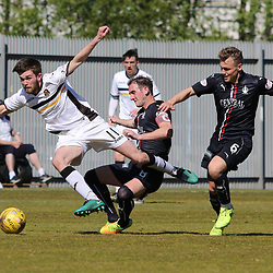 Samuel Stanton is challenged but stays on his feet  during the Dumbarton v Falkirk Scottish Championship 06 May 2017<br /> <br /> <br /> <br /> <br /> <br /> (c) Andy Scott | SportPix.org.uk