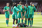 Plymouth Argyll players have drinks whilst warm up during the EFL Sky Bet League 1 match between Scunthorpe United and Plymouth Argyle at Glanford Park, Scunthorpe, England on 27 October 2018. Pic Mick Atkins