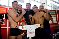 Slovenian Boxer Dejan Zavec alias Jan Zaveck alias Mr. Simpatikus, his manager Ulf Steinforth, his challenger Rodolfo Ezequiel Martinez - Epi and Nani Matjasic at official weighing 1 Day before IBF World Champion title fight, on April 8, 2010, in Avto Delta, Ljubljana, Slovenia.  (Photo by Vid Ponikvar / Sportida)