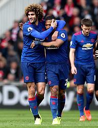 Marouane Fellaini of Manchester United celebrates with Luis Antonio Valencia after scoring a goal - Mandatory by-line: Robbie Stephenson/JMP - 19/03/2017 - FOOTBALL - Riverside Stadium - Middlesbrough, England - Middlesbrough v Manchester United - Premier League