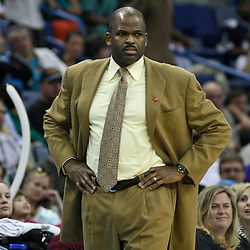 January 16, 2012; New Orleans, LA, USA; Portland Trail Blazers head coach Nate McMillan against the New Orleans Hornets during the second half of a game at the New Orleans Arena. The Trail Blazers defeated the Hornets 84-77.  Mandatory Credit: Derick E. Hingle-US PRESSWIRE
