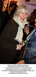 Designer BETTY JACKSON at a party in London on 26th November 2003.<br /> POY 42