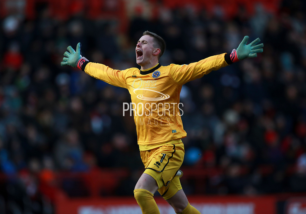 Shrewsbury Town's 'keeper Dean Henderson celebrates the second goal during the EFL Sky Bet League 1 match between Charlton Athletic and Shrewsbury Town at The Valley, London, England on 24 February 2018. Picture by John Marsh.