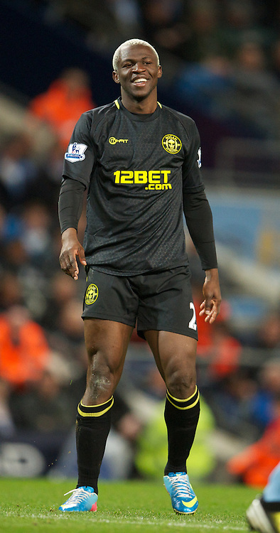 MANCHESTER, ENGLAND - Wednesday, April 17, 2013: Wigan Athletic's Arouna Kone in action against Manchester City during the Premiership match at the City of Manchester Stadium. (Pic by David Rawcliffe/Propaganda)