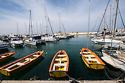 Israel, Jaffa, The ancient port now used as a fishing a leisure harbour an a tourist attraction