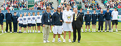 LIVERPOOL, ENGLAND - Saturday, June 20, 2009: Champion Mardy Fish (USA) with the Boodles & Dunthorpe Trophy and runner-up Vince Spadea (USA) after the Men's Final on Day Four of the Tradition ICAP Liverpool International Tennis Tournament 2009 at Calderstones Park. Also Tournament Director Anders Borg (L) and Lord Mayor of Liverpool Mike Storey (R).  (Pic by David Rawcliffe/Propaganda)