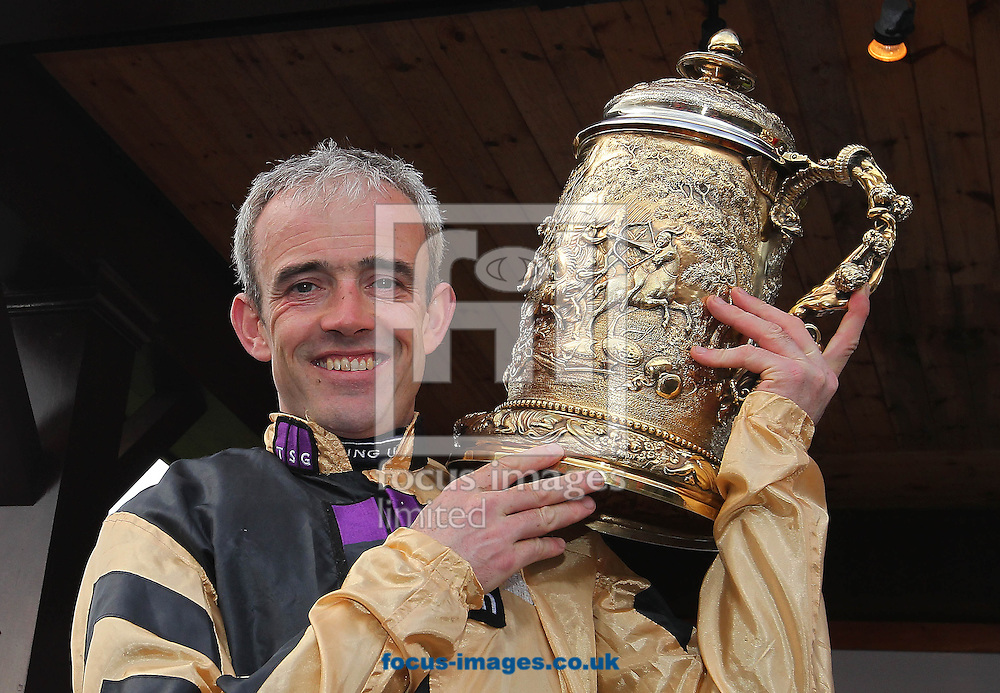 Ruby Walsh celebrates winning the Punchestown Gold Cup at the Punchestown Festival, Punchestown Racecourse, Kildare.<br /> Picture by Lorraine O'Sullivan/Focus Images Ltd +353 872341584<br /> 30/04/2014
