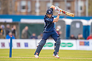 Richie Berrington plays a shot during the One Day International match between Scotland and Afghanistan at The Grange Cricket Club, Edinburgh, Scotland on 10 May 2019.