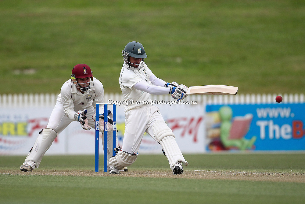 Central Stag's Kruger van Wyk batting during the Plunket Shield Cricket match, Northern Districts v Central Districts at Seddon Park, Hamilton. Wednesday 27 November 2013. Photo: Bruce Lim / photosport.co.nz