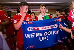 Free to use courtesy of Sky Bet - Accrington Stanley celebrate winning promotion to Sky Bet League One - Mandatory by-line: Robbie Stephenson/JMP - 17/04/2018 - FOOTBALL - Wham Stadium - Accrington, England - Accrington Stanley v Yeovil Town - Sky Bet League Two