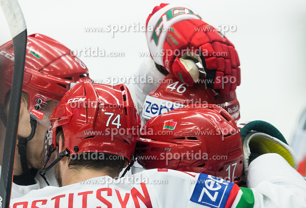 Players of Belarus celebrate after scoring gift goal during Ice Hockey match between USA and Belarus at Day 7 in Group B of 2015 IIHF World Championship, on May 7, 2015 in CEZ Arena, Ostrava, Czech Republic. Photo by Vid Ponikvar / Sportida