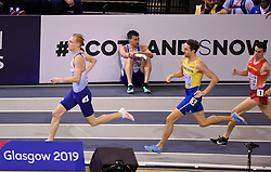 Great Britain's Guy Learmonth (centre) lies on the track after falling in the second semi final of the Men's 800m during day two of the European Indoor Athletics Championships at the Emirates Arena, Glasgow.