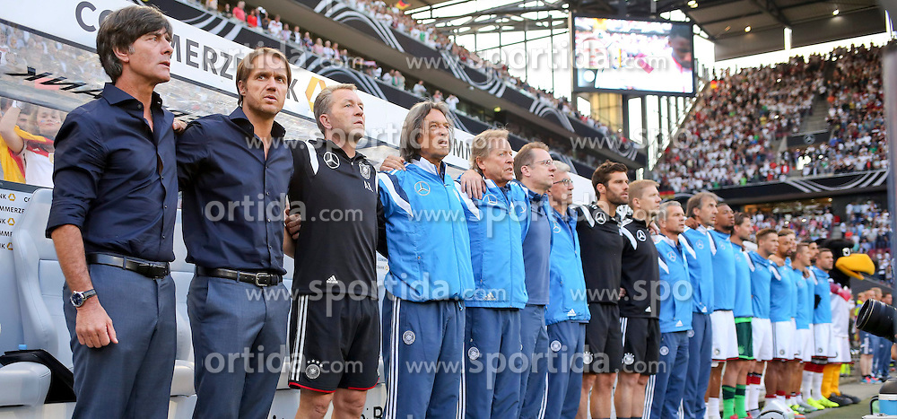 10.06.2015, RheinEnergie Stadion, Koeln, GER, FS Vorbereitung, Testspiel, Deutschland vs USA, im Bild Deutsche Ersatzbank mit National-, Bundestrainer Joachim &quot;Jogi&quot; Loew, Co-Trainer Thomas Schneider, Torwart-Trainer Andreas Koepke, Mannschaftsarzt Dr. Mueller Wohlfahrt // during the international friendly football match between Germany and USA at the RheinEnergie Stadion in Koeln, Germany on 2015/06/10. EXPA Pictures &copy; 2015, PhotoCredit: EXPA/ Eibner-Pressefoto/ Schueler - Pressefoto<br /> <br /> *****ATTENTION - OUT of GER*****