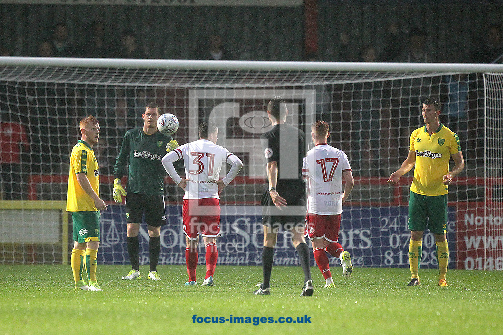 The Norwich players look baffled as Referee Darren Deadman awards the home side a penalty during the Pre-season Friendly match at the Lamex Stadium, Stevenage<br /> Picture by Paul Chesterton/Focus Images Ltd +44 7904 640267<br /> 11/07/2017