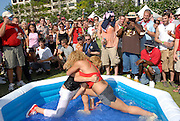 "Strippers wrestling in a kids pool at the ""Alternative"" newspaper Creative Loafing's beer festival at Woodruff Park in Atlanta, Georgia."