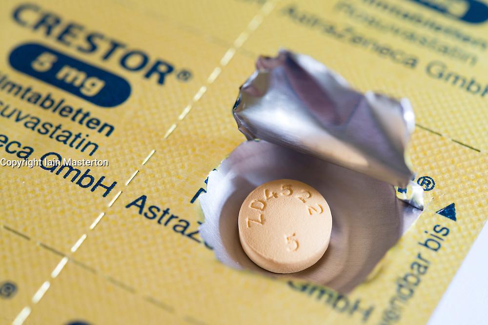 Foil blister packet for Crestor branded statins cholesterol reducing pills.