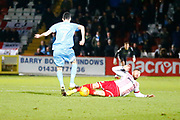 Coventry's midfielder Peter Vincenti tries to beat a challenge from Stevenage's defender Fraser Franks during the EFL Sky Bet League 2 match between Stevenage and Coventry City at the Lamex Stadium, Stevenage, England on 21 November 2017. Photo by Matt Bristow.