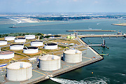 Nederland, Zuid-Holland, Rotterdam, 10-06-2015; Yangtzehaven met Gate terminal voorgrond) en de Maasvlakte Olie Terminal (MOT). Ingang Nieuwe Waterweg.<br /> Yangtzehaven with Maasvlakte Oil Terminal (MOT), and the three tanks of  the Gate terminal for LNG import. <br /> luchtfoto (toeslag op standard tarieven);<br /> aerial photo (additional fee required);<br /> copyright foto/photo Siebe Swart