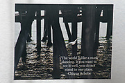 Photo magnet with Santa Monica ocean, pier, Chinua Achebe quote, water, California, home art, fridge art, Los Angles, Southern CA.