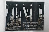 Photo magnet with Santa Monica ocean, pier, Chinua Achebe quote, water, California, home art, fridge art, Los Angles, Southern CA.