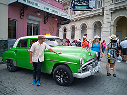 Old Havana, Cuba. Havana vieja, street. Vintage cars, taxi driver, Floridita bar.