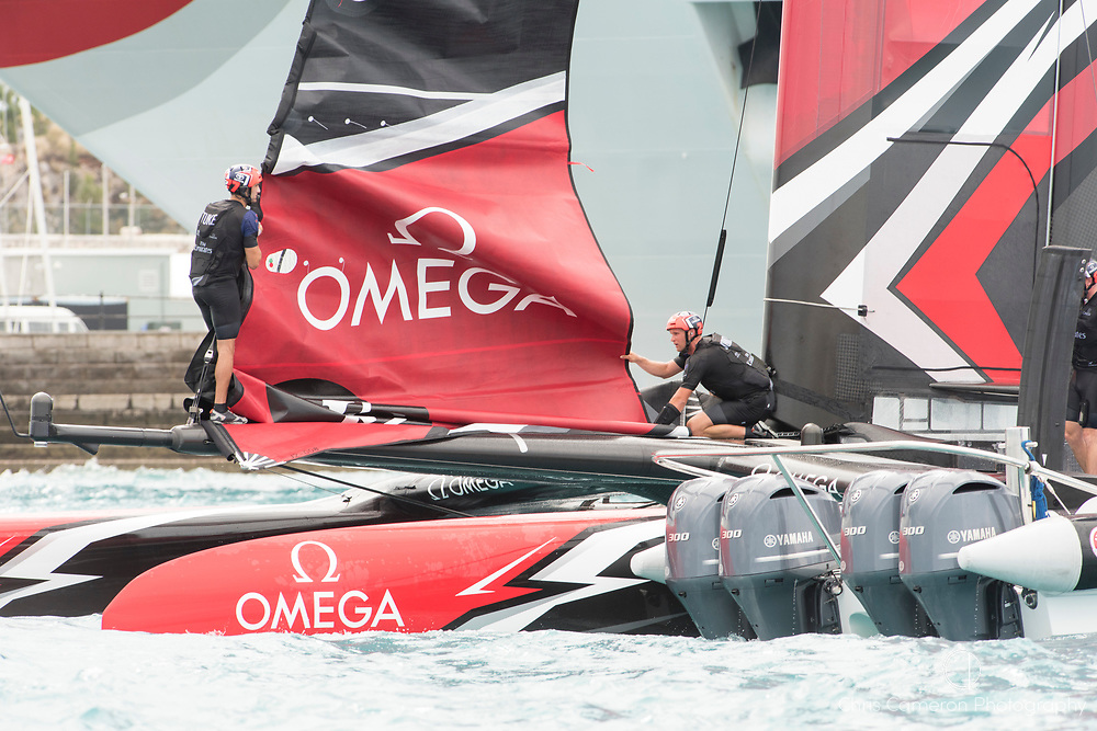 The Great Sound, Bermuda. 11th June 2017. Emirates Team New Zealand head back to base after winning a close finish in race six of the Louis Vuitton America's Cup Challenger playoff finals against Artemis Racing (SWE) .