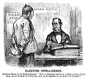 "Election Intelligence. Brilliant Elector (at the polling station). ""It's a stoutish koind of a man, with a bald 'ead, as ar wishes to vote for, but ar 'm blessed if ar know 'is naame!!"" (a Victorian cartoon shows a voter turning up at a Polling Station to vote at a General Election)"