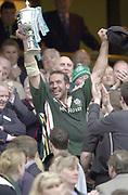 10/04/2002 - Powergen National Cup Final - Twickenham.London Irish vs Northampton..Chris Sheasby, holds the trophy aloft..