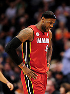 Nov. 17, 2012; Phoenix, AZ, USA; Miami Heat forward LeBron James (6) walks off the court during the game against the Phoenix Suns in the first half at US Airways Center. Mandatory Credit: Jennifer Stewart-US PRESSWIRE.