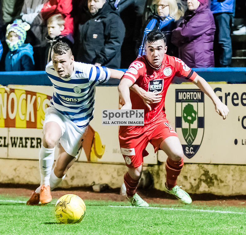 Morton's Declan McManus challenges St. Mirren's Stevie Mallan for the ball during the Greenock Morton V St. Mirren Scottish Championship game, 2nd January 2016; (c) BERNIE CLARK | SportPix.org.uk