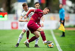 Žan Kolmanič of Maribor vs Egzon Kryeziu of Triglav during Football match between NK Triglav and NK Maribor in 25th Round of Prva liga Telekom Slovenije 2018/19, on April 6, 2019, in Sports centre Kranj, Slovenia. Photo by Vid Ponikvar / Sportida