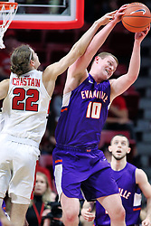 NORMAL, IL - January 05: Matt Chastain and Evan Kuhlman during a college basketball game between the ISU Redbirds and the University of Evansville Purple Aces on January 05 2019 at Redbird Arena in Normal, IL. (Photo by Alan Look)