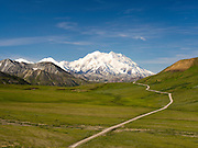 View of Denali, the Great One, from the Park Road, Denali National Park, Alaska.