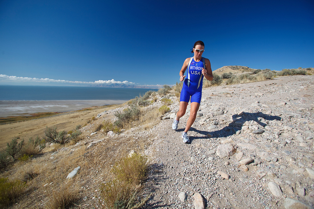 Kelsey Kooreman, Professional Triathlete training at Antelope Island State Park, Utah.  The Great Salt Lake is in the Background