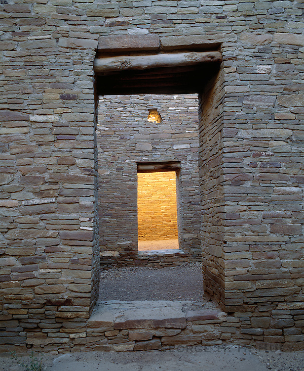 0204-1032B ~ Copyright: George H. H. Huey ~ Doorway and window, Pueblo Bonito. Anasazi 'great house' pueblo, built A.D. 850-1130. [3 stories high, over 600 rooms]. Chaco Culture National Historical Park, New Mexico.
