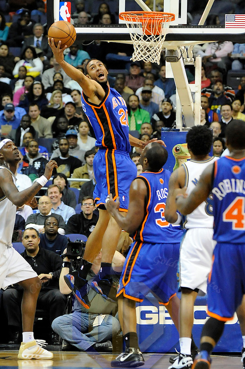 19 February 2008:   New York Knicks forward Jared Jeffries (20) pulls down a rebound in the 1st half against the Washington Wizards at the Verizon Center in Washington, D.C.  The Knicks defeated the Wizards 113-100 in overtime.