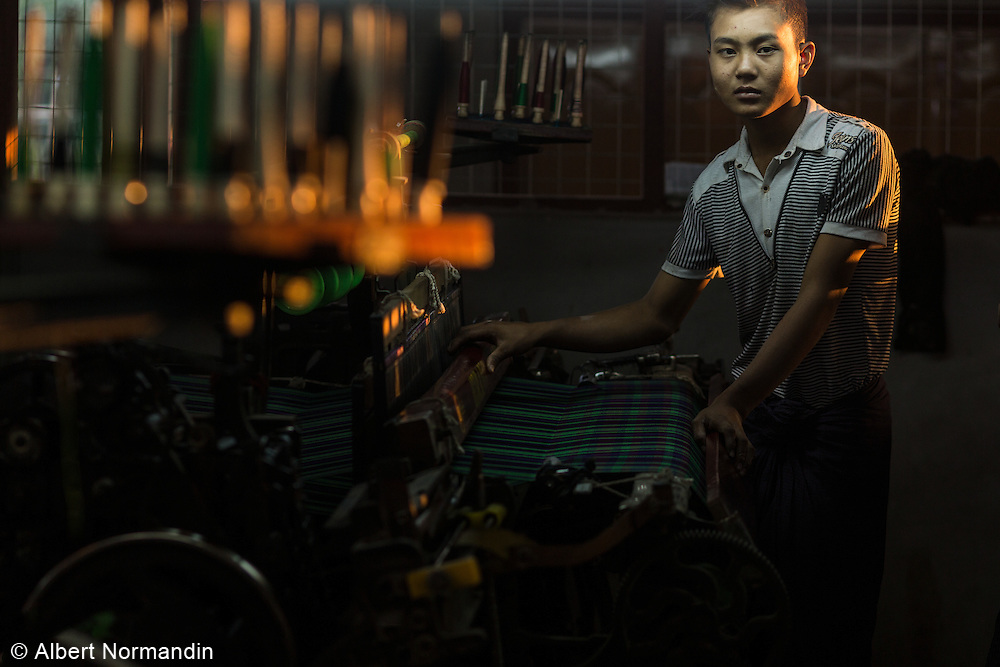 Machine operator at Longyi factory, Myitkyina