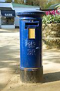 Blue pillar box Island of Sark, Channel Islands, Great Britain