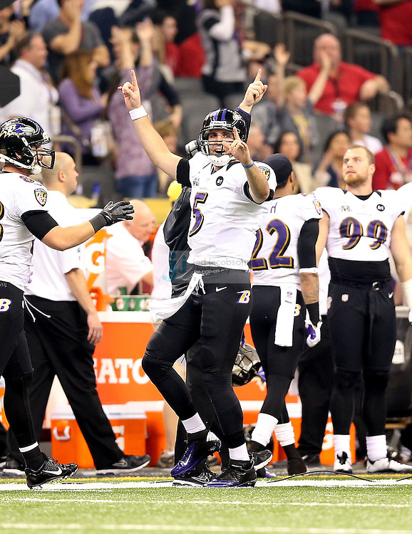 Joe Flacco (5) of the Baltimore Ravens celebrates against the San Francisco 49ers during the NFL Super Bowl XLVII football game in New Orleans on Feb. 3, 2013. The Ravens won the game, 34-31.  (Photo by Jed Jacobsohn)