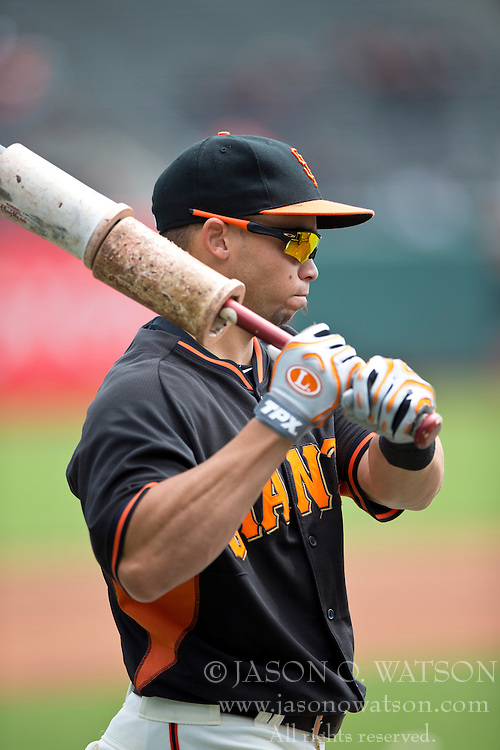 SAN FRANCISCO, CA - APRIL 26:  Juan Perez #2 of the San Francisco Giants holds a bat during batting practice before the game against the Cleveland Indians at AT&T Park on April 26, 2014 in San Francisco, California. The San Francisco Giants defeated the Cleveland Indians 5-3.  (Photo by Jason O. Watson/Getty Images) *** Local Caption *** Juan Perez