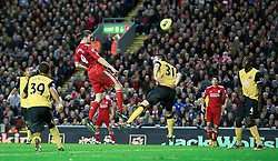 26.11.2011, Anfield Stadion, Liverpool, ENG, PL, FC Liverpool vs Blackburn Rovers, 18. Spieltag, im Bild Liverpool's Andy Carroll sees his header go just wide against Blackburn Rovers during the football match of English premier league, 18th round, between FC Liverpool and Blackburn Roversat Anfield Stadium, Liverpool, United Kingdom on 2011/12/26. EXPA Pictures © 2011, PhotoCredit: EXPA/ Propagandaphoto/ David Rawcliff..***** ATTENTION - OUT OF ENG, GBR, UK *****