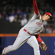 NEW YORK, NEW YORK - APRIL 27:  Pitcher Ross Ohlendorf #27 of the Cincinnati Redspitching during the New York Mets Vs Cincinnati Reds MLB regular season game at Citi Field on April 27, 2016 in New York City. (Photo by Tim Clayton/Corbis via Getty Images)