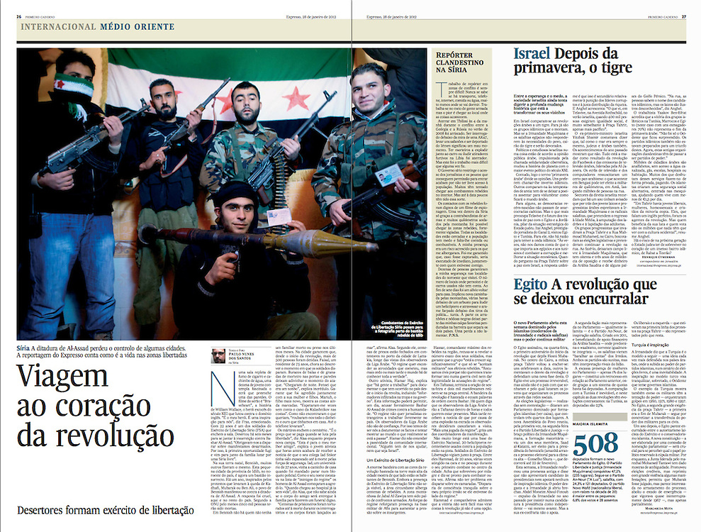 "Tearsheet of ""Syria: viagem ao coracao da revolucao"" published in Expresso"