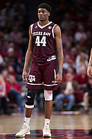 FAYETTEVILLE, AR - FEBRUARY 17:  Robert Williams #44 of the Texas A&M Aggies standing at mid court during a game against the Arkansas Razorbacks at Bud Walton Arena on February 17, 2018 in Fayetteville, Arkansas.  The Razorbacks defeated the Aggies 94-75.  (Photo by Wesley Hitt/Getty Images) *** Local Caption *** Robert Williams