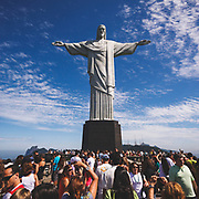 The fabulous 30m tall Cristo Redentor (Christ the Redeemer) statue on the Corcovado mountain in Rio de Janeiro.