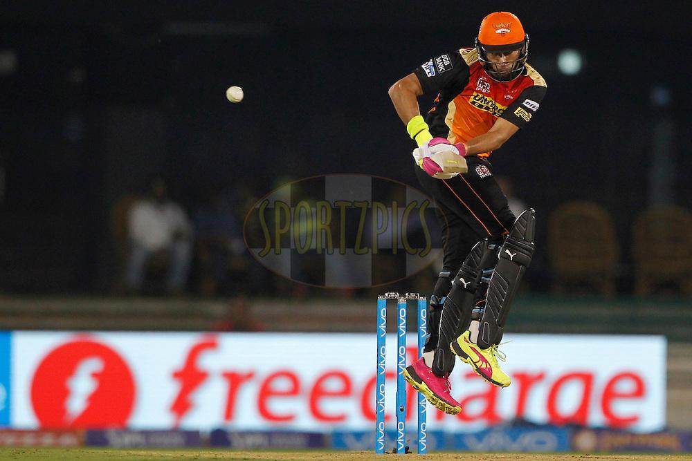 Yuvraj Singh of Sunrisers Hyderabad bats during match 52 of the Vivo Indian Premier League ( IPL ) between the Delhi Daredevils and the the Sunrisers Hyderabad held at the Shaheed Veer Narayan Singh International Cricket Stadium, Naya Raipur, India on the 20th May 2016<br /> <br /> Photo by Deepak Malik / IPL/ SPORTZPICS